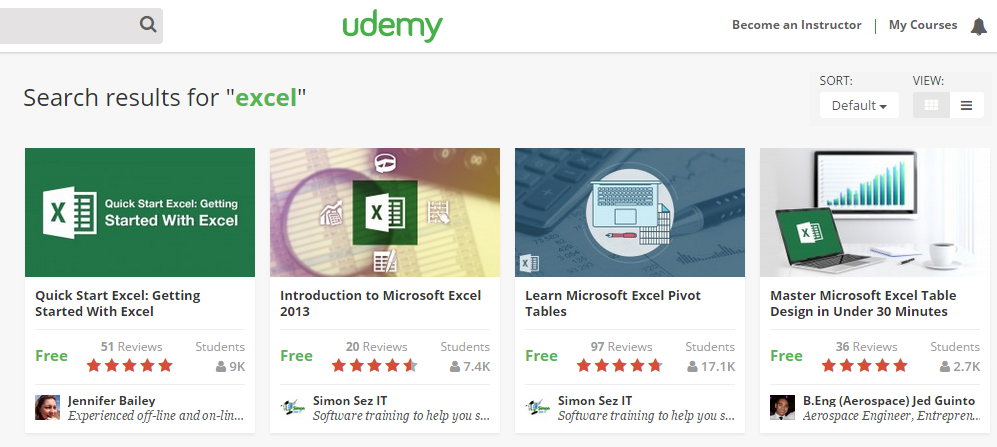 Udemy Excel courses
